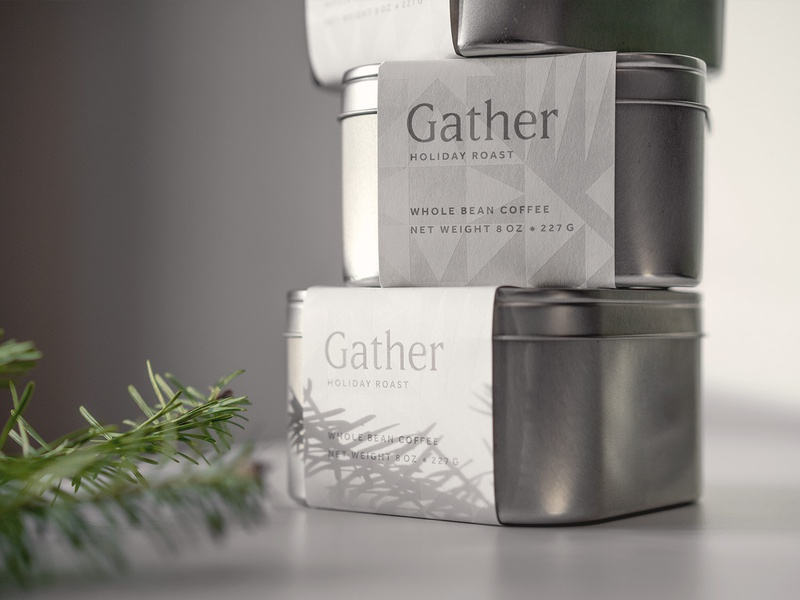 Gather Holiday Roast ice snow holiday winter geometric pattern logotype type logo branding packaging coffee