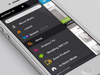 Shopping app sidebar menu