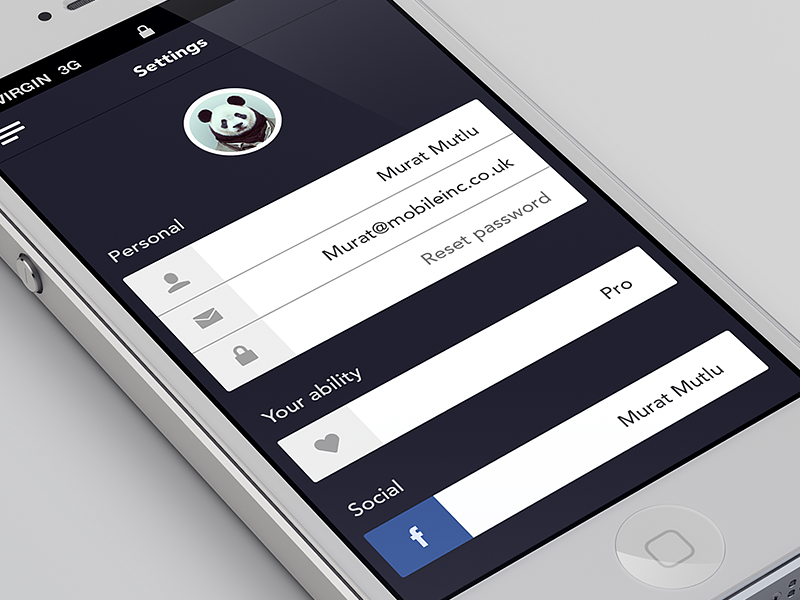 Settings screen iphone iphone app settings form profile facebook