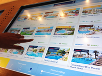 Interactive touchscreen installation for travel agent