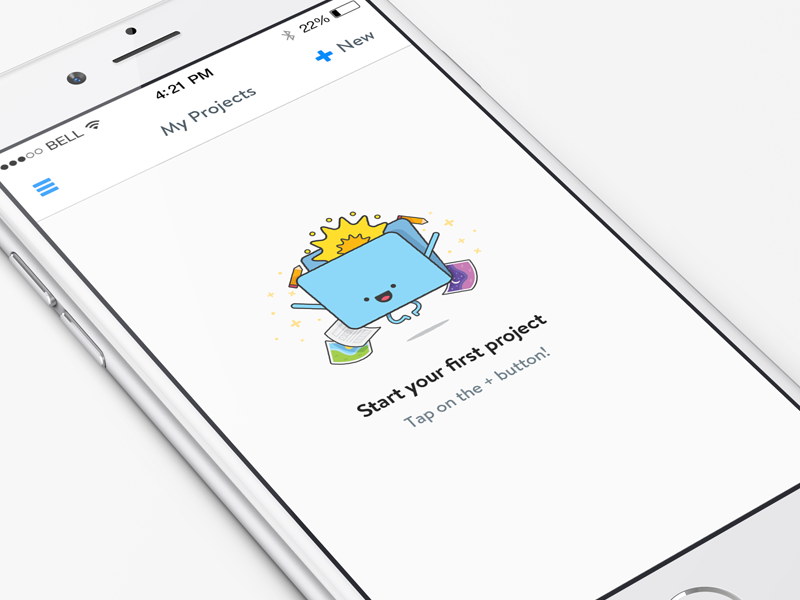 Empty state for iPhone 6 iphone 6 ios8 empty state illustration app ui projects