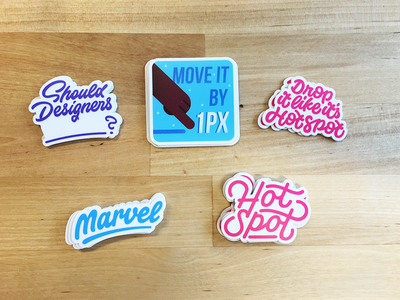 Stickers for designers #1 typeface logo stickers illustration