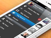 iPhone app sidebar menu