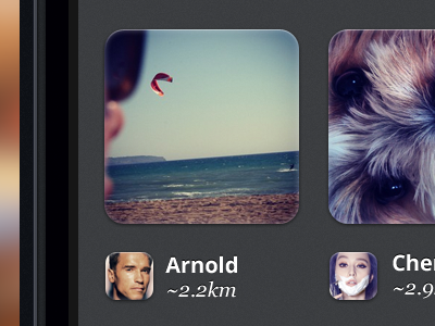 Photo Results grid list iphone 5 ios profiles photo map location app retina iphone app iphone button user results