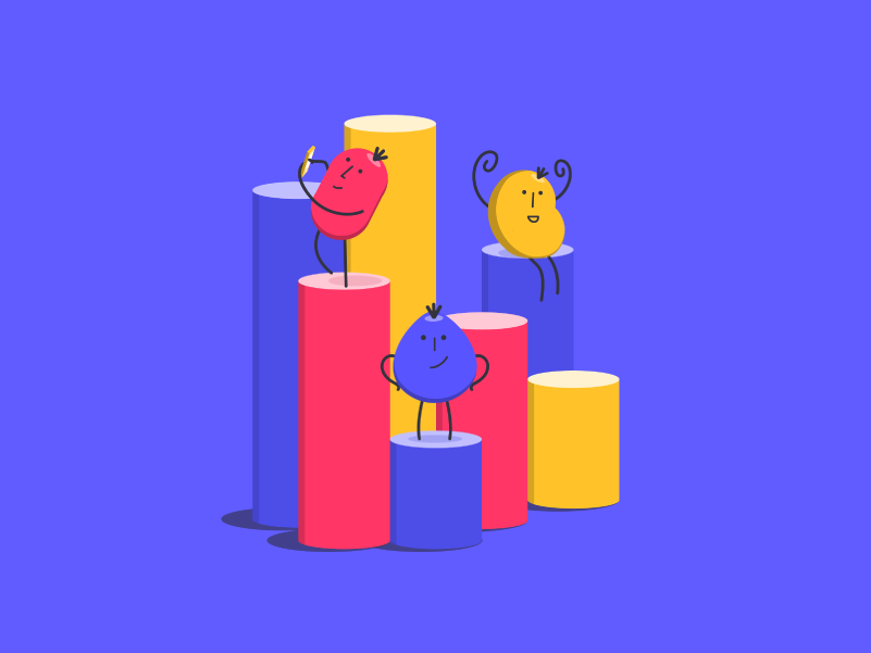 Useberry | Analytics Illustration charts chart yellow blue red user testing onboarding character design character berries berry illustrator illustration art illustrations illustration analytical analytics chart web design analytics