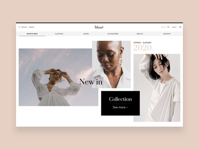 Musé animations clean minmal design fashion ui typography dwarves website