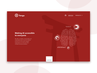 Tengu AI clean minimal branding typography logo illustration ui website