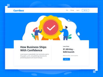 Carribox App cover design dwarves typography branding illustration website ui