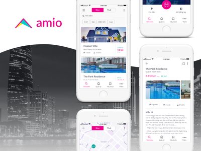 Amio App mobile application real estate branding ux design ui