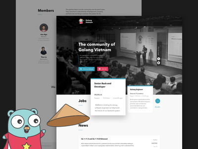 Golang Community Website illustration logo typography dwarves branding ui website