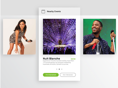 070 - Event Listing event listing kid cudi ali wong nuit blanche nearby events app uiux daily ui 070