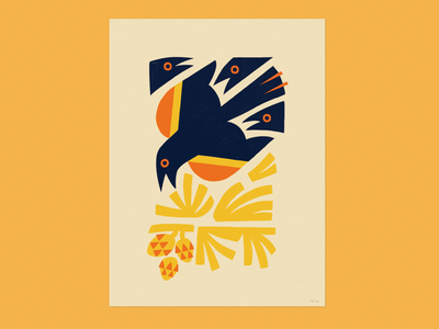 Red-winged autumn park minneapolis poster bird design animal illustration