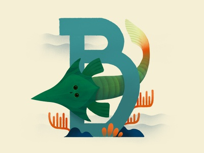 Boreaspis prehistoric fish green painting illustration dinosaur