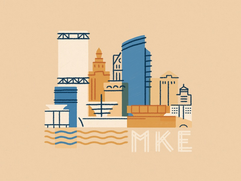 Milwaukee pleasehireme minneapolis skyline building lake michigan milwaukee city design illustration