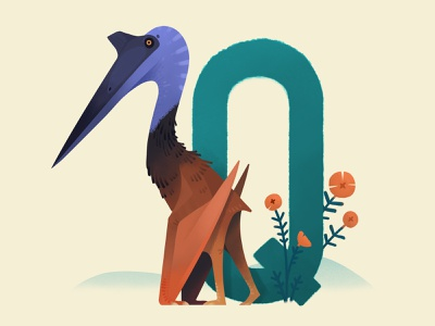 Quetzalcoatlus giraffe tall design pterosaur dinosaur animal painting extinct prehistoric illustration