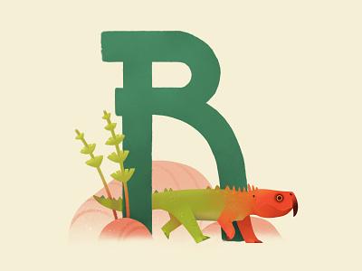 Rynchosaur piggy alphabet triassic reptile lizard dinosaur animal painting illustration extinct prehistoric