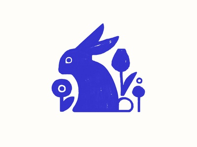 Blue Bunny blue flowers bunny rabbit holiday easter spring animal design illustration
