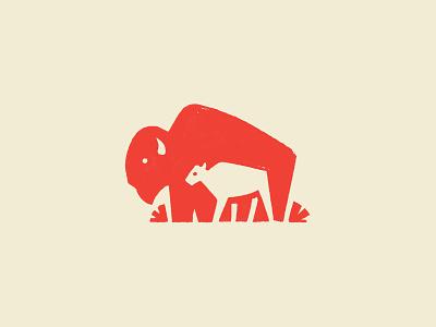 Bison & Calf mooooooo mother baby buffalo prairie cow calf cattle bison animal design illustration