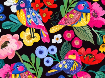 Birds from the Garden of Paradise floral pattern birds raster flowers bright floral flower pattern illustration marushabelle
