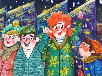 Christmas family raster illustration pricreate bright christmas family illustration marushabelle