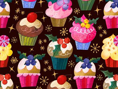 Cupcake pattern christmas pattern christmas cupcake pattern cupcake procreate pattern marushabelle