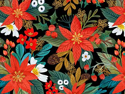 Christmas star pattern procreate festive pattern raster pattern pattern red flowers christmas star christmas marushabelle