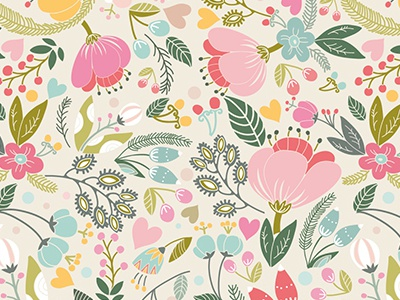 Flowers Pattern marushabelle flat vector graphic floral