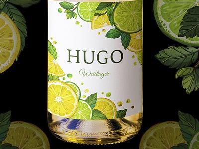 hugo wine botanical pattern product design label wine procreate marushabelle