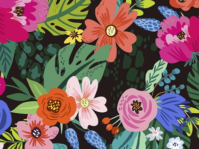 Floral summer pattern pattern illustration summer flowers bright graphics floral flower vector marushabelle