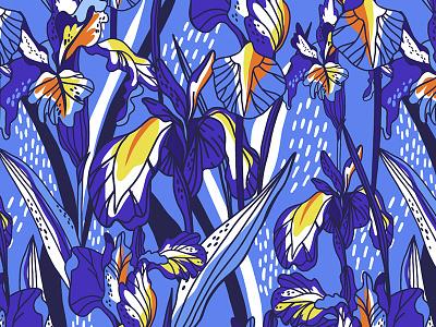 Iris pattern isris blue flowers bright graphics floral flower pattern vector marushabelle