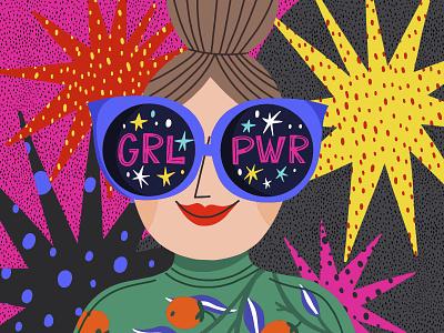 Girl Power feminism girls star pattern girl power girl vector marushabelle