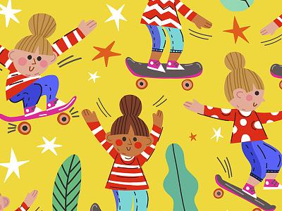 Skateboar girls children pattern bright patten skateboard girl flat pattern vector marushabelle