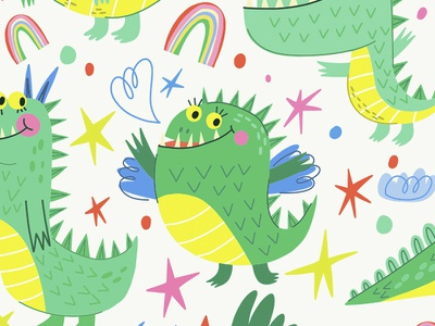 Cute Dragons characterdesign children pattern seamlesspattern dino dragon flat pattern vector marushabelle