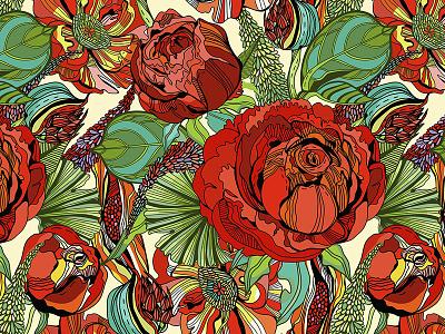 Red rose pattern floral pattern floral flower pattern vector marushabelle