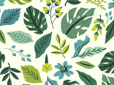 Tropical leaves dr tropical leaves leaves flat pattern vector marushabelle