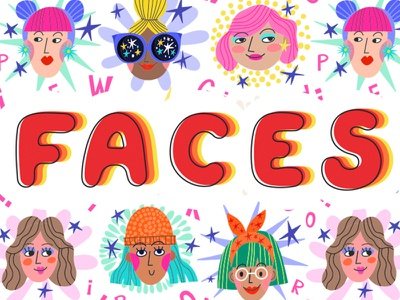 Faces flat pattern vector marushabelle