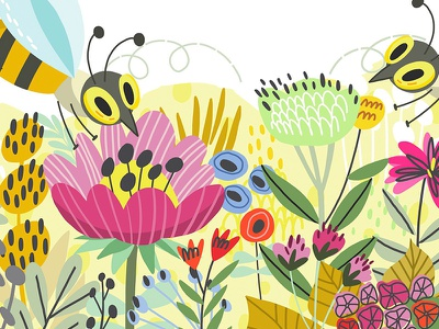 Bee bee floral illustration vector marushabelle
