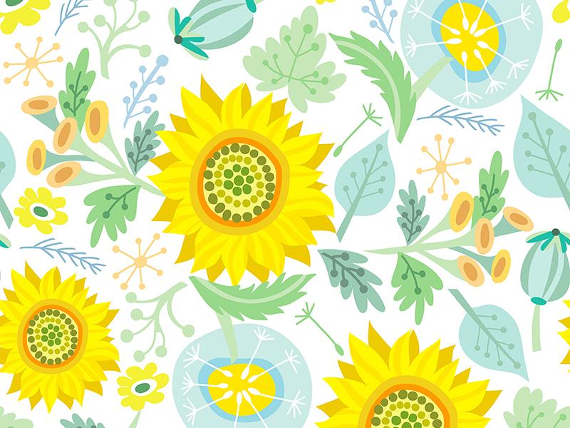 Sunflower Pattern by Marusha on Dribbble