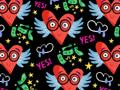 Crazy Hearts cartoon characters pattern hearts illustration marushabelle