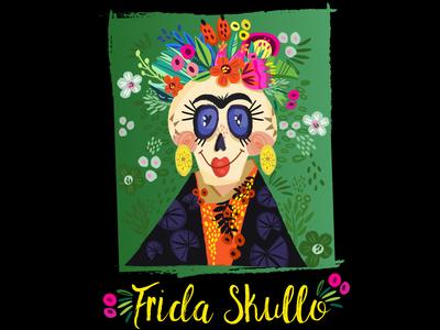Frida Skullo tropics floral skull floral marushabelle skull funny illustration frida