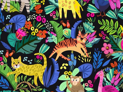 Tropics characters animals tropics pattern fresh marushabelle