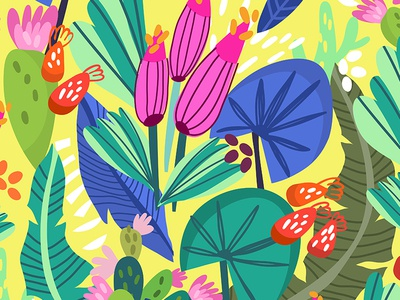 Tropical forest bright flowers floral animals tropics pattern fresh marushabelle