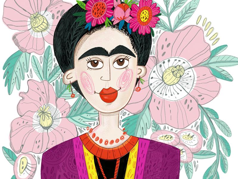 Frida character marushabelle flower floral poppy illustration frida
