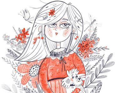 Cherry Blossom Girl bloom love dog people girl illustration girl happy marushabelle