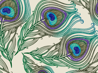Pattern_peacock feather marushabelle graphics vector bird peacock feather
