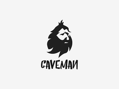 Caveman beard savage character logo paleo caveman