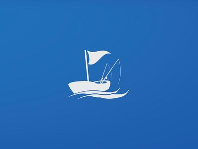Fishing Boat logo flag rod sea boat fishing