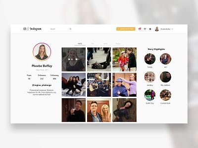 Instagram - Redesign insta account social social app profile card profile friends web design web ui  ux design ui instagram posts instagram