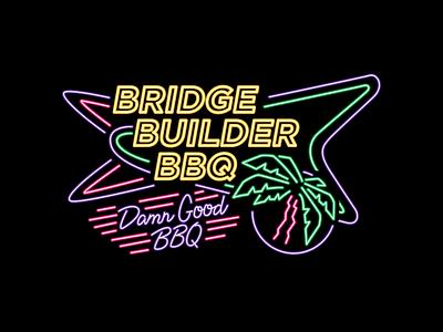 Builder Neon food barbecue typography vector shirt tee branding graphic design apparel illustration