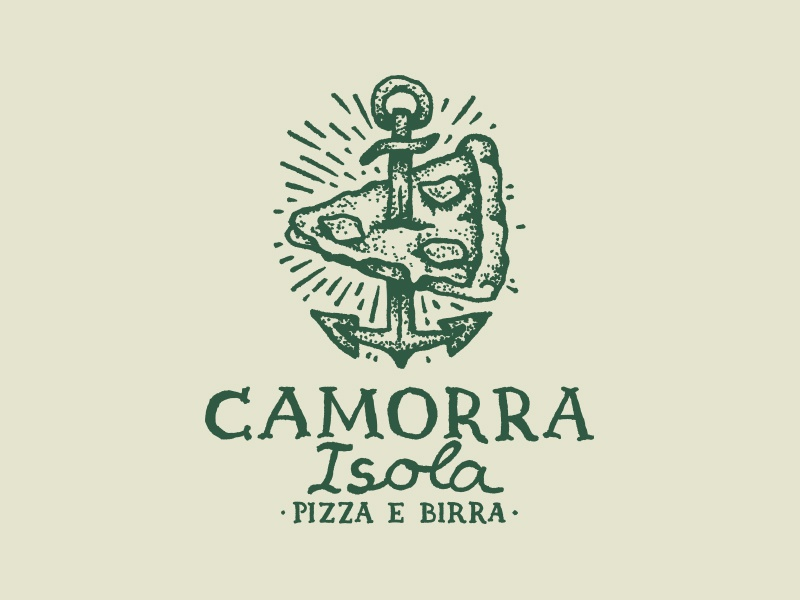 Camorra Isola isola tattoo pizzeria pizza mafia logo knife dotwork camorra birra beer